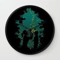 fireflies Wall Clocks featuring Fireflies by pigboom el crapo