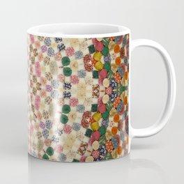 Vintage Textile YoYo Quilt Mandala Coffee Mug