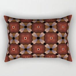 Red Square and White Circle Pattern Rectangular Pillow