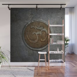 The sound of the Universe. Gold Ohm Sign On Stone Wall Mural