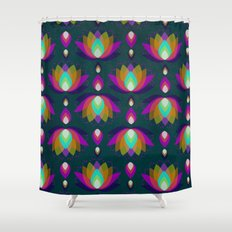 Variations on a Lotus II - Jewel on Green Shower Curtain