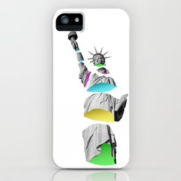 Statue of Liberty Sliced Neon Color Art iPhone Case