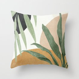 Abstract Art Tropical Leaves 4 Throw Pillow