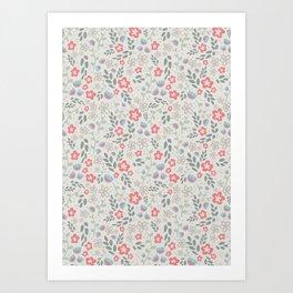 Pretty Coral Floral Pattern  Art Print