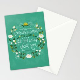 1 Peter 5:7 - Give All Your Worries And Cares To Him Stationery Cards