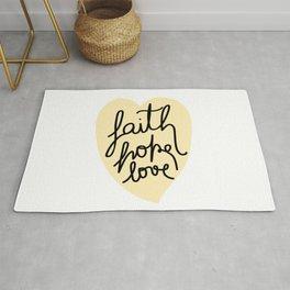 Faith, Hope, Love - Yellow Heart Rug