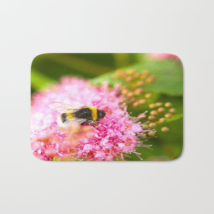 Busy Bee Bzzzzzzz On A Pink Flower #decor #society6 Bath Mat