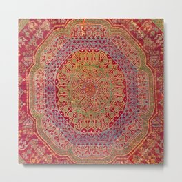 Bohemian Medallion VIII // 15th Century Old Distressed Red Green Coloful Ornate Accent Rug Pattern Metal Print
