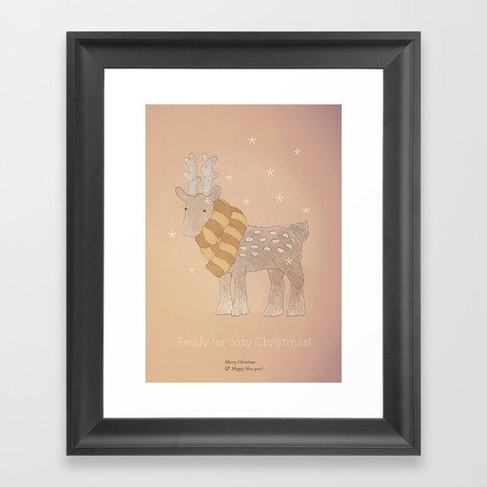 Christmas creatures- The Cozy Deer Framed Art Print