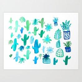 Live Simply Cactus Art Print