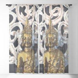 Gold Buddha Om Sheer Curtain