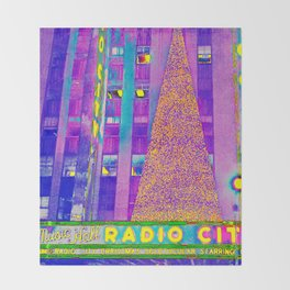 Radio City Music Hall with Holiday Tree, New York City, New York Throw Blanket