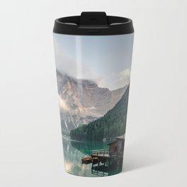 Mountain Lake Cabin Retreat Metal Travel Mug