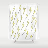 lightning Shower Curtains featuring Lightning by Jess Driscoll