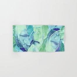 Banana Tree Leaves | Tropical  BLUE Watercolor Hand & Bath Towel