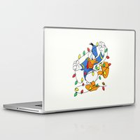 donald duck Laptop & iPad Skins featuring Funny Angry Donald Duck by Yuliya L