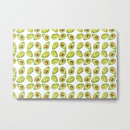 Watercolor Painting Green Avocado Pattern Metal Print