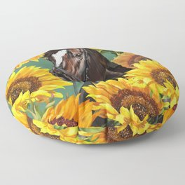 Horse with Sunflowers Floor Pillow