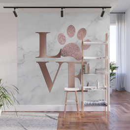 Love is a Four Letter Word - Rose Gold and Marble Wall Mural