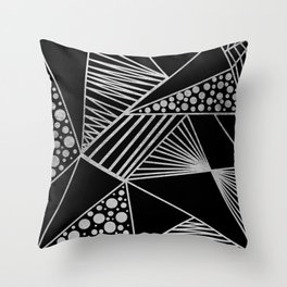 Modern geometrical black faux silver blush chic pattern Throw Pillow