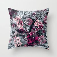 dahlia Throw Pillows featuring Dahlia by RIZA PEKER
