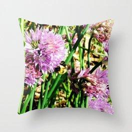 Scallion Flower Bumble Bee Throw Pillow
