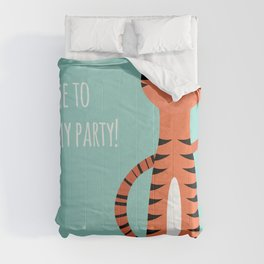 Tiger card - come to my party Comforters