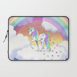 Pretty Rainbow Unicorn and Stars Laptop Sleeve