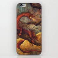 smaug iPhone & iPod Skins featuring Dragons Lair by Angela Rizza