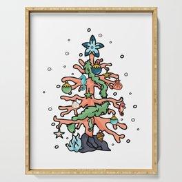 Cute coral reef christmas tree cartoon illustration motif set. Serving Tray