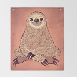 Sitting Sloth Throw Blanket