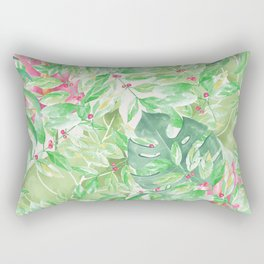Hand painted watercolor green pink tropical leaves floral Rectangular Pillow