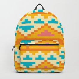 White And Yellow Stylish Native Aztec Backpack