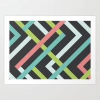 Neon Pastel Angles Art Print