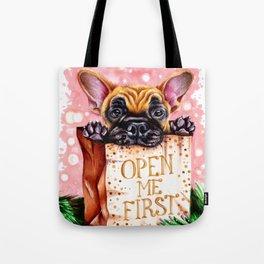Christmas dog in the bag Tote Bag