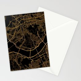 Black and gold Seoul map Stationery Cards
