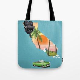 California Illustrated map poster. Tote Bag
