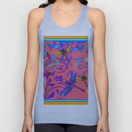 Decorative Abstract Blue Dragonflies Nature Landscape Unisex Tank Top