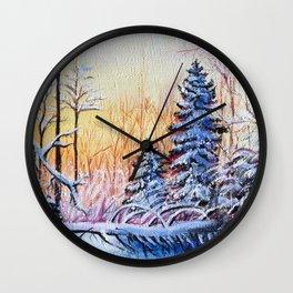 Winter Sunrise Forest Snow Wall Clock