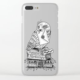 Hedwig On Books Clear iPhone Case