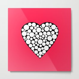 Heart with polka dots . The red background . Metal Print
