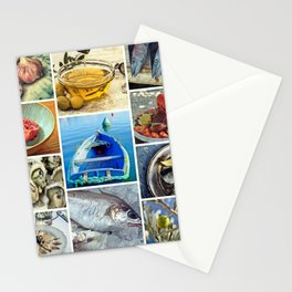 Seafood Collage Cafe Kitchen Decor Stationery Cards