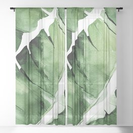 Tropical Banana Leaf Sheer Curtain