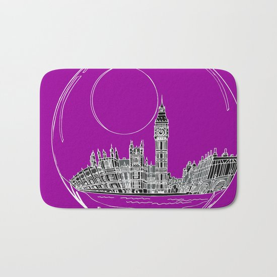 the city of London on a purple background Bath Mat