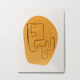 Enshape by Ejaaz Haniff 'Yellow Maze' Mid Century Modern Minimalist Maze Pattern Line Drawing Funky Cool Vintage Style Metal Print