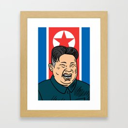 Hand drawn portrait of the smilling leader of North Korea Kim Jong-un. Framed Art Print