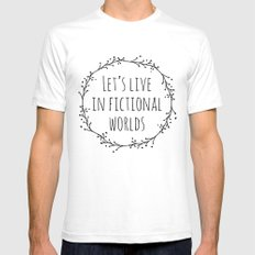 Let's Live in Fictional Worlds - Black and White White Mens Fitted Tee SMALL