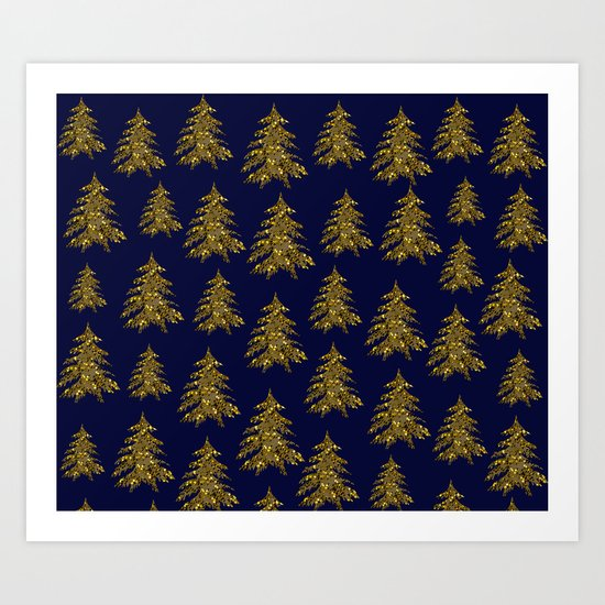Sparkly gold Christmas tree on dark blue Art Print