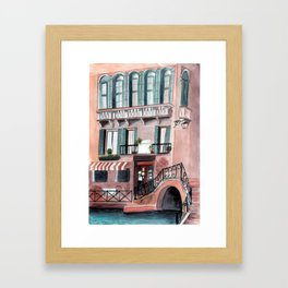 Italy coffee shop watercolor Framed Art Print