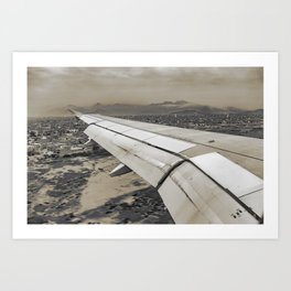 Airplane Arriving to Small Town Art Print